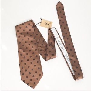 NWT Oliver by Valentino Brown Polkadot Silk Tie